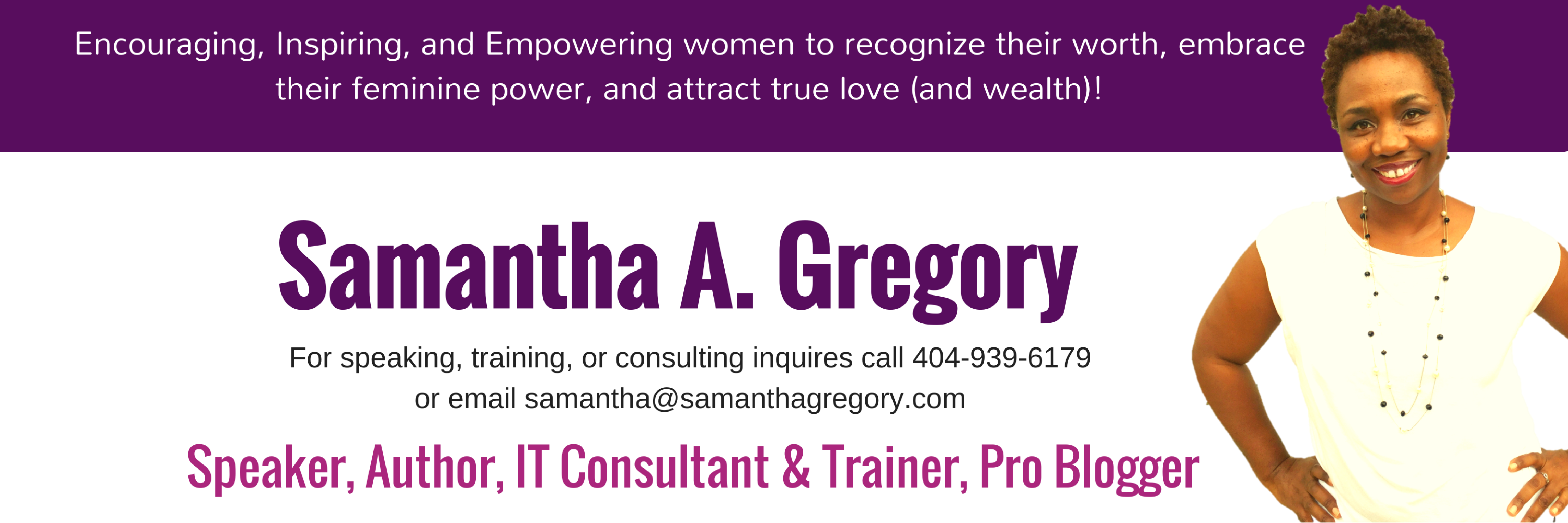 SamanthaGregory.com speaker, author, IT consultant & trainer, pro blogger